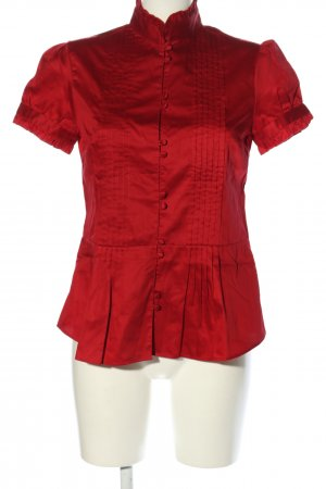 Massimo Dutti Kurzarm-Bluse rot Steppmuster Casual-Look