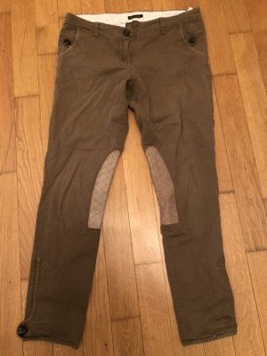 Massimo Dutti Riding Trousers grey brown-ocher