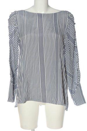 Massimo Dutti Langarm-Bluse weiß-blau Streifenmuster Casual-Look