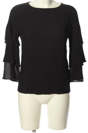 Massimo Dutti Langarm-Bluse schwarz Elegant