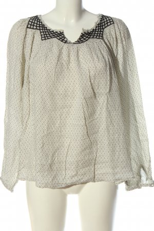 Massimo Dutti Langarm-Bluse wollweiß Allover-Druck Business-Look