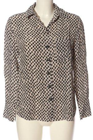 Massimo Dutti Langarm-Bluse schwarz-creme Allover-Druck Casual-Look