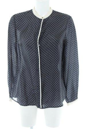 Massimo Dutti Langarm-Bluse dunkelblau-weiß Casual-Look