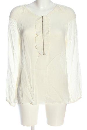 Massimo Dutti Langarm-Bluse wollweiß Elegant