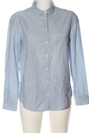 Massimo Dutti Langarmhemd blau-weiß Streifenmuster Casual-Look