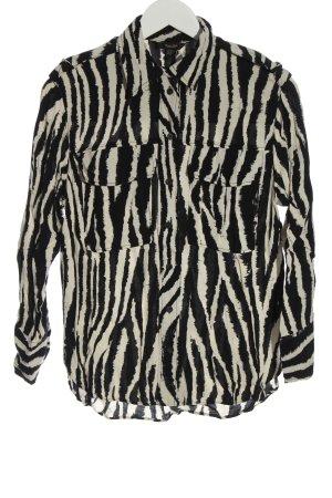 Massimo Dutti Langarmhemd wollweiß-schwarz Animalmuster Casual-Look
