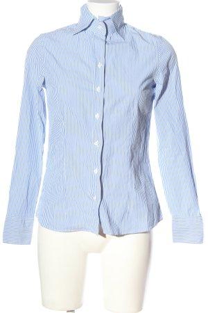 Massimo Dutti Langarmhemd blau-weiß Streifenmuster Business-Look