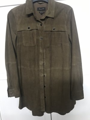 Massimo Dutti Skórzana koszula khaki-zielono-szary
