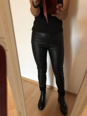 Massimo Dutti Lederhose Lederleggings echtes Leder schwarz 34 neu