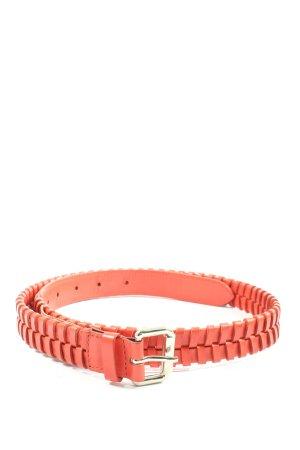 Massimo Dutti Cinturón de cuero de imitación rojo estampado a rayas elegante