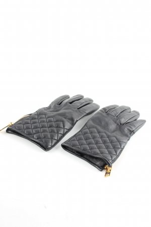 Massimo Dutti Faux Leather Gloves black quilting pattern casual look
