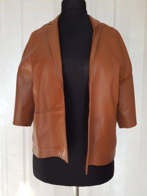 Massimo Dutti Leather Blazer cognac-coloured