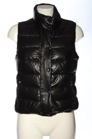 Massimo Dutti Leren vest zwart quilten patroon casual uitstraling