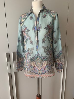 Massimo Dutti Leinenbluse Tunika Leinenhemd türkis Paisley Muster Gr. 36/38