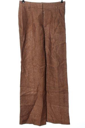 Massimo Dutti Pantalon en lin brun style décontracté