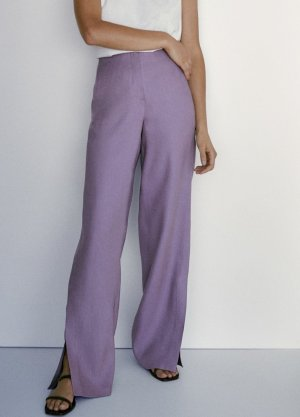 Massimo Dutti Pantalon en lin lilas-violet