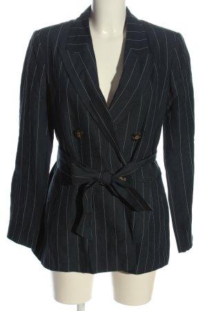 Massimo Dutti Long-Blazer schwarz Streifenmuster Business-Look