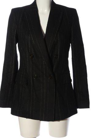 Massimo Dutti Long-Blazer schwarz-weiß Streifenmuster Casual-Look