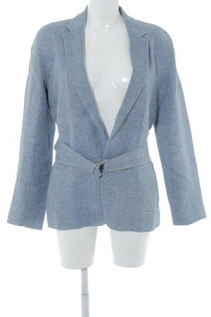 Massimo Dutti Long-Blazer blau-grau meliert Casual-Look