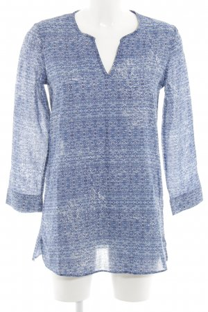 Massimo Dutti Long-Bluse weiß-neonblau grafisches Muster Casual-Look