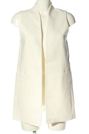 Massimo Dutti Lang gebreid vest wit zakelijke stijl