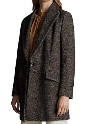 Massimo Dutti Wool Coat black-black brown