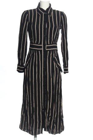 Massimo Dutti Maxikleid schwarz-creme Streifenmuster Casual-Look