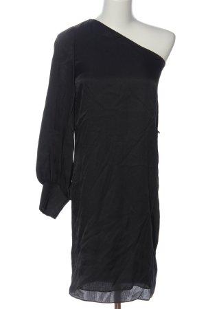 Massimo Dutti One-Shoulder-Kleid schwarz Glanz-Optik