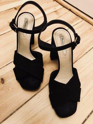 Massimo Dutti Platform High-Heeled Sandal black suede