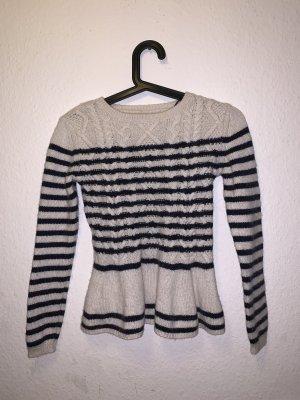 Massimo Dutti Warkoczowy sweter ciemnoniebieski-w kolorze białej wełny