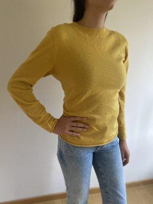 Massimo Dutti Kaszmirowy sweter złotopomarańczowy
