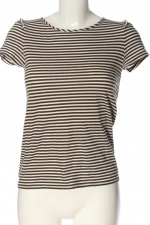 Massimo Dutti Camisa de rayas marrón-blanco estampado a rayas look casual