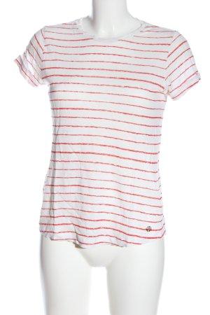 Massimo Dutti Camisa de rayas blanco-rojo estampado a rayas elegante