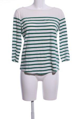 Massimo Dutti Ringelshirt weiß-grün Streifenmuster Casual-Look