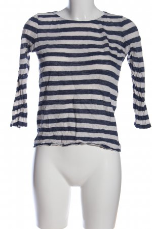 Massimo Dutti Ringelshirt weiß-blau Streifenmuster Casual-Look