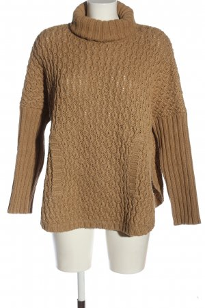 Massimo Dutti Turtleneck Sweater brown cable stitch casual look