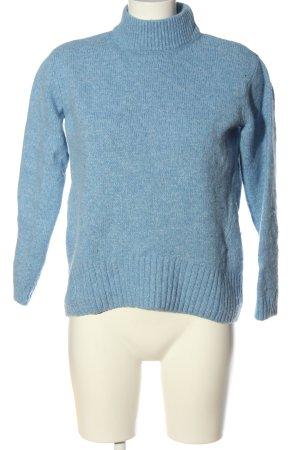 Massimo Dutti Rollkragenpullover blau meliert Casual-Look