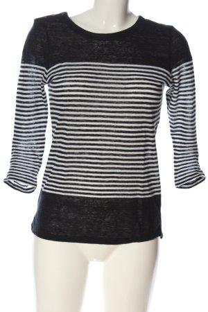 Massimo Dutti Rundhalspullover schwarz-weiß Streifenmuster Casual-Look