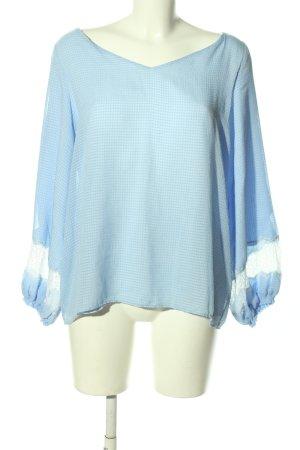 Massimo Dutti Schlupf-Bluse blau Allover-Druck Casual-Look
