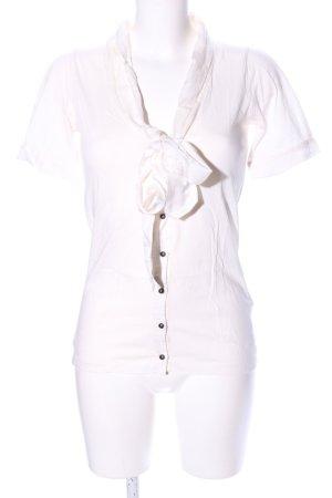 Massimo Dutti Blouse avec noeuds blanc style décontracté