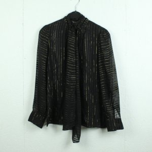 Massimo Dutti Tie-neck Blouse black-gold-colored polyester