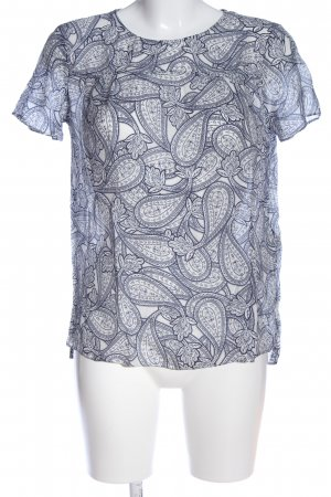 Massimo Dutti Silk Blouse white-blue abstract pattern casual look