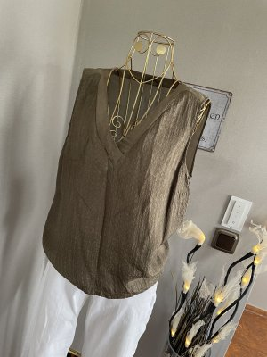 Massimo Dutti Silk Top green grey-khaki