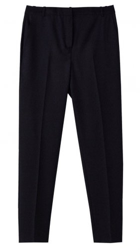 Massimo Dutti Pantalon taille basse bleu foncé