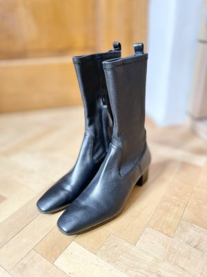 Massimo Dutti Sock Boots Leder Echtleder schwarz Glattleder Absatz 38 NEU