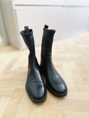 Massimo Dutti Botas de tobillo negro Cuero
