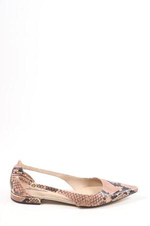 Massimo Dutti Zapatos de punta rosa-negro estampado de animales
