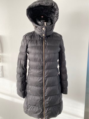 Massimo Dutti Quilted Coat black-silver-colored