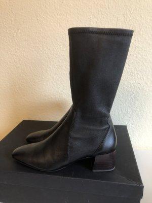 Massimo Dutti Stiefel Stiefelette, Retro look, Leder schwarz 40 S-Schaft