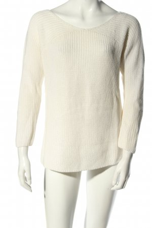 Massimo Dutti Strickpullover wollweiß Zopfmuster Casual-Look